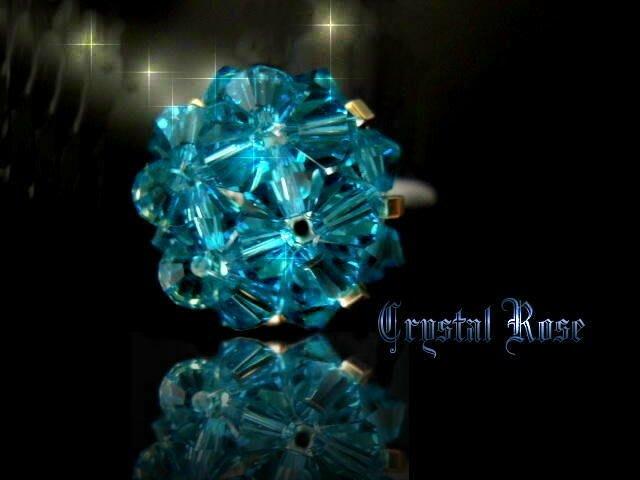 ※水晶玫瑰※ SWAROVSKI 水晶戒指~孔雀藍(HAND13)