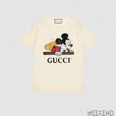 【WEEKEND】 GUCCI x DISNEY 迪士尼 聯名 Logo 米奇 短袖 上衣 T恤 白色 492347