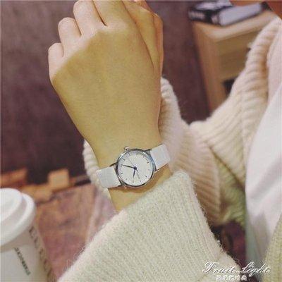 ☜男神閣☞情侶手錶白色小清新百搭時尚流復古