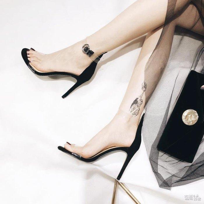高跟鞋新款性感一字帶涼鞋夏季歐美透明露趾高跟鞋細跟單鞋