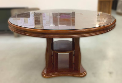 【宏品二手家具館】全新中古傢俱拍賣 E81811*玻璃實木圓桌*書桌 辦公桌 茶几 戶外休閒桌椅 電腦桌椅 新竹桃園台北