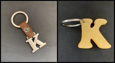 🔑 100%全新正貨 Guess 中古絕版 英文字母Capital Letter K 金屬加皮帶鎖匙扣Metal & Leather Key Chain 另送