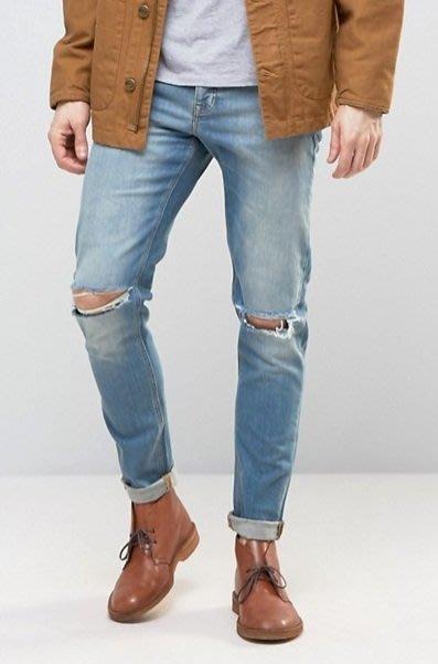 ◎美國代買◎ASOS刷白藍刷色雙膝刷破顯廋復古時尚刷色刷破牛仔褲~歐美街風~大尺碼~
