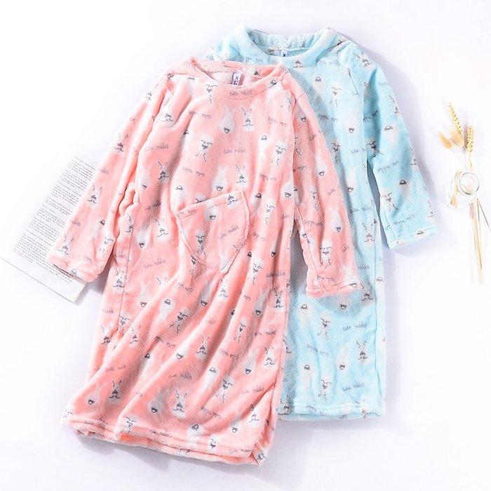 正韓A@4 春季女韓版睡衣珊瑚絨時尚氣質潮流中長款長袖女士家居服