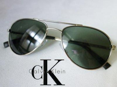 CK Calvin Klein 太陽眼鏡 淡金色金屬框 墨綠鏡片 側框圓點 雷朋飛行員款 凱文克萊 窄臉【以靡正品】