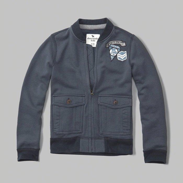 美國百分百【Abercrombie & Fitch】棒球 外套 AF 立領 長袖 夾克 麋鹿 深藍灰 男 女 H364