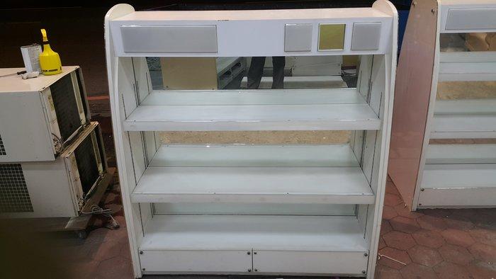 樂居二手家具 全新中古傢俱賣場 V0113-01 白色雙面展示櫃*收納櫃 高低櫃 藝品櫃 服飾櫃 收納櫃 貨物架