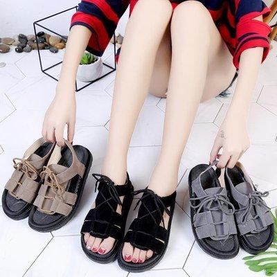 平底涼鞋女夏2019新款韓版學生簡約中跟百搭韓版露趾沙灘軟底涼鞋