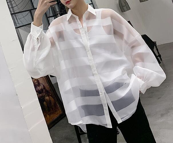 FINDSENSE 品牌 2019 春季 新款 寬鬆  潮流  個性 社會 男青年長袖 透視裝 免燙 襯衫 復古 氣質