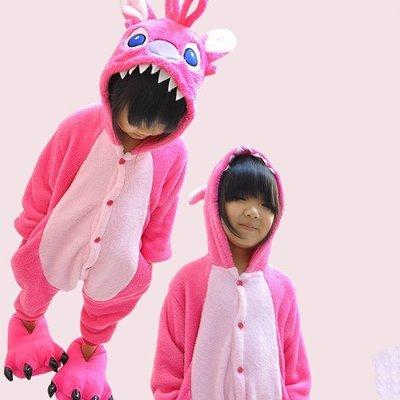 5Cgo【鴿樓】會員有優惠 15648041282 秋冬兒童卡通連體睡衣 動物連體家居服 粉色史迪奇