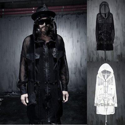 『潮范』男士暗黑朋克百搭透視網格鉚釘抽繩外套罩衫素面針織衫連帽針織衫素面針織衫針織外套連帽外套N