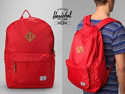 *~Freaky House~* 加拿大品牌Herschel Supply Co. Heritage Ripstop筆電內袋光滑面防水後背包-紅