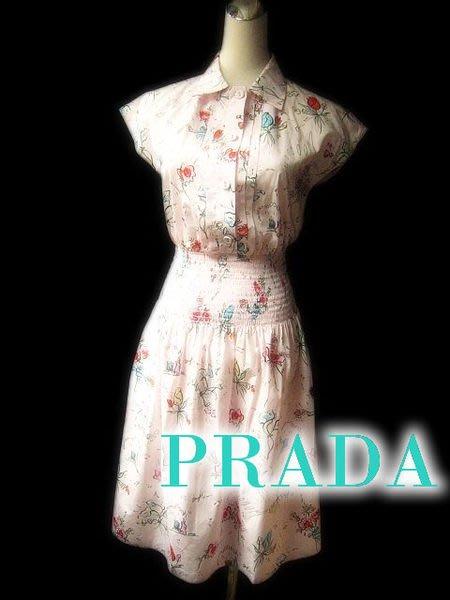 *Beauty*PRADA粉色薄棉印花洋裝 束腰設計 近全新 WE13