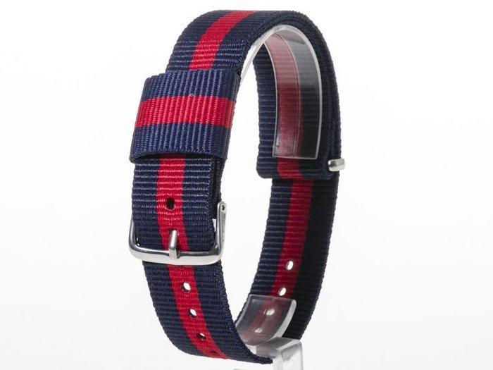 DW款式 編織加厚尼龍錶帶 尼龍手錶帶 – 20mm銀色 – 藍紅藍 FA-38797