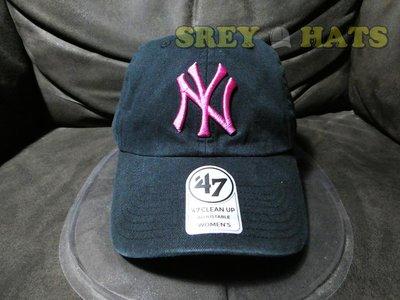 [SREY帽屋]預購*47 Brand CLEAN UP MLB 紐約洋基 女版 黑底玫瑰紅字 美國限定 棒球帽 老帽