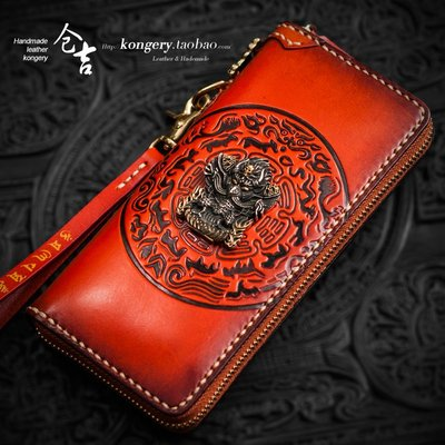 ℘一間*視覺↳御級手工牛皮錢包男士長款拉鏈包女復古財布錢夾真皮包皮夾手拿包cj-115