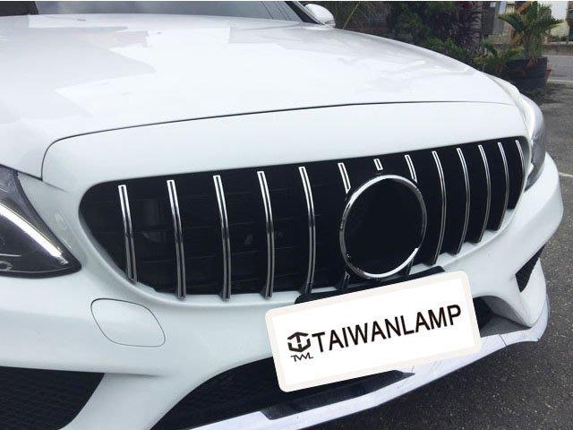 《※台灣之光※》全新BENZ賓士W205 S205 前期專用GTR GT-R AMG款直立式鍍鉻水箱罩台灣製 C250