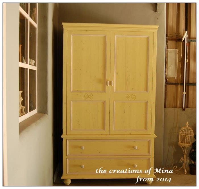 米娜天然直感手作-不匠氣衣櫃衣櫥訂做系列10 清新檸檬黃蝴蝶結衣櫃 小女兒的衣櫥