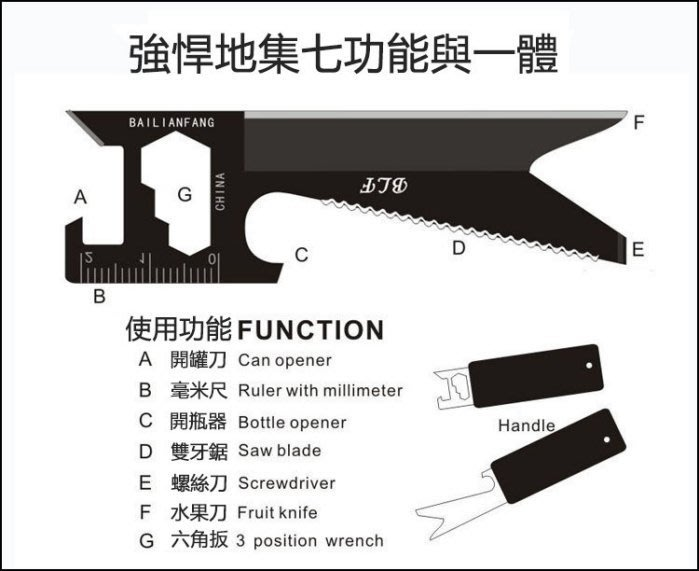 全新  新款創意正品戶外7合1萬能軍刀卡 多功能卡片刀 隱藏匙牌刀卡k5