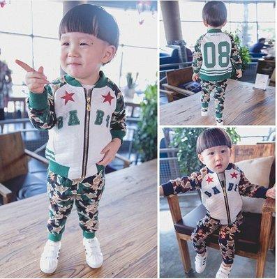 ♥ 【BS0098】 韓版男童裝星星印花套裝 2色 (藍色 綠色 現貨) ♥