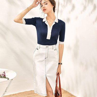 ♈尹愛服飾♈高端3008106氣質時尚針織T卹+開叉顯瘦牛仔半裙兩件套裝