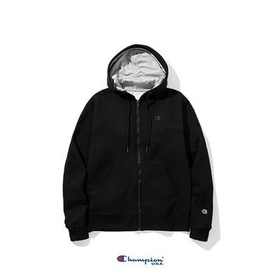 Champion S0891 雙色刺繡LOGO 鋪棉 連帽外套/黑色