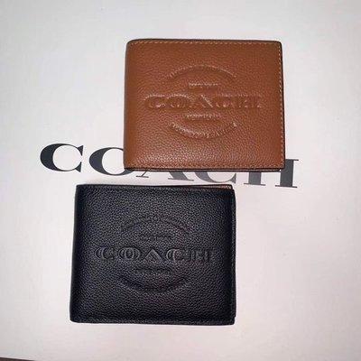 【八妹精品】COACH 24647 新款男士真皮壓紋八卡短夾 男夾 皮夾錢包