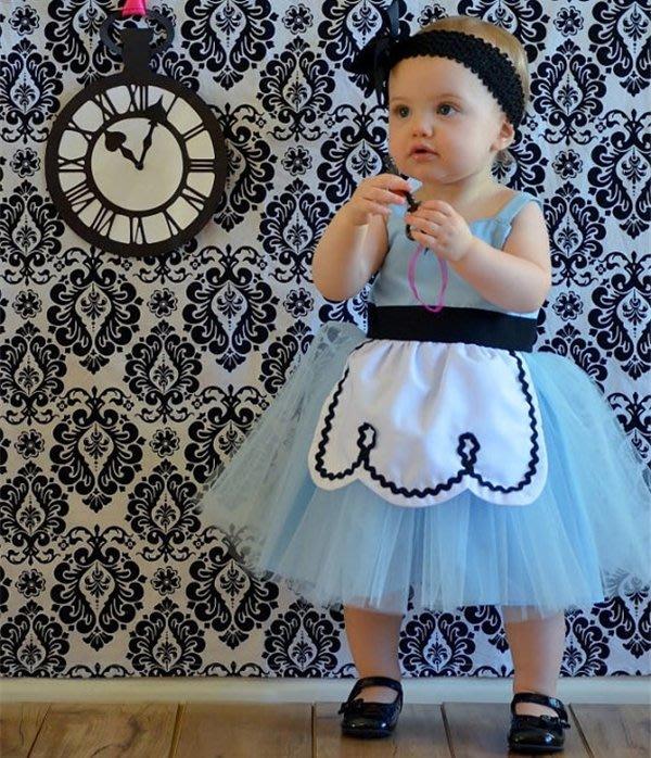 【小阿霏】女童愛麗絲連身裙 女孩公主洋裝連衣裙蓬蓬紗裙 最佳萬聖節cosplay主題派對裝扮女孩生日禮物CL170
