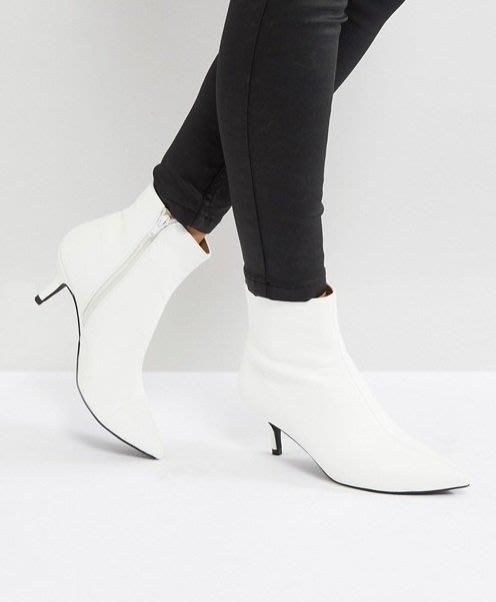 ◎美國代買◎ASOS代買拉鏈開合搭配尖楦頭細跟經典百搭款英倫時尚街風尖頭細高跟拉鏈踝靴~歐美街風~大尺碼