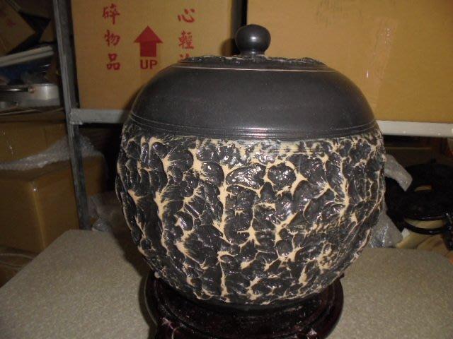 頂級紅土4號 約15斤 手拉坏 茶葉罐 普洱茶 罐 老茶 醒茶 米甕 聚寶盆 收納罐 #1亮面黑