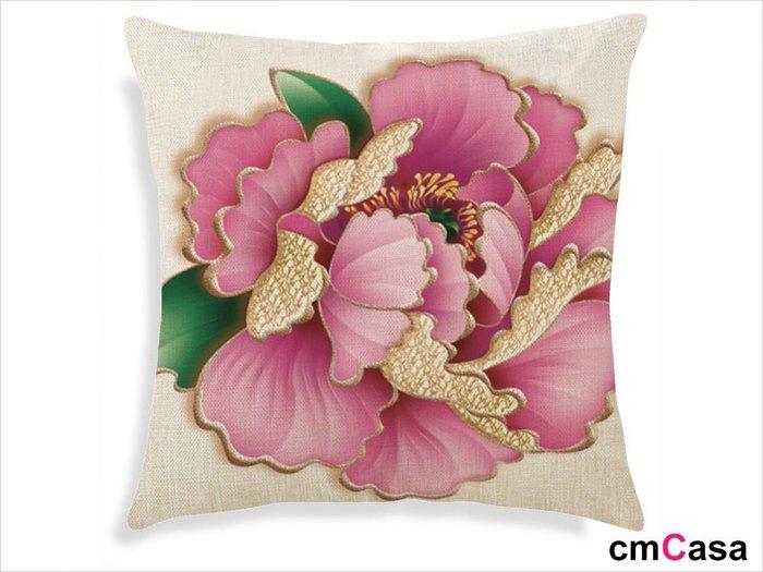 = cmCasa = [4714]新古典東方美學設計 粉金手繪牡丹抱枕套 視覺藝術新發行