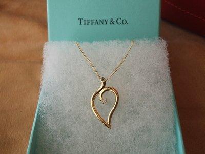 ☆銀翔二手精品☆ TIFFANY & CO.  心形 單鑽 鑽石 黃k 項鍊