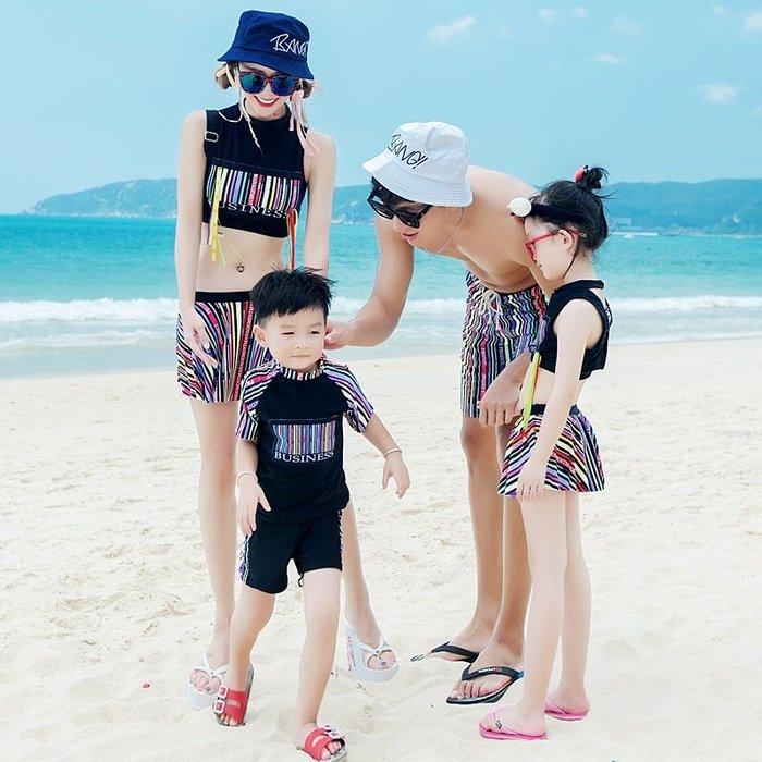 【小阿霏】兒童款 一家四口家庭親子泳衣 女童男童分體式彩色條碼泳裝 母女姐妹兄妹泳裝SW163