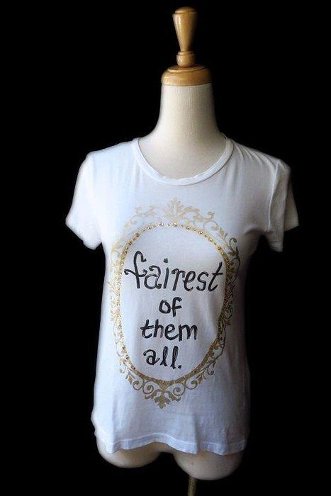 *Beauty*alice+olivia SNOW WHITE魔鏡白色短袖T恤  XS 號   2000  元