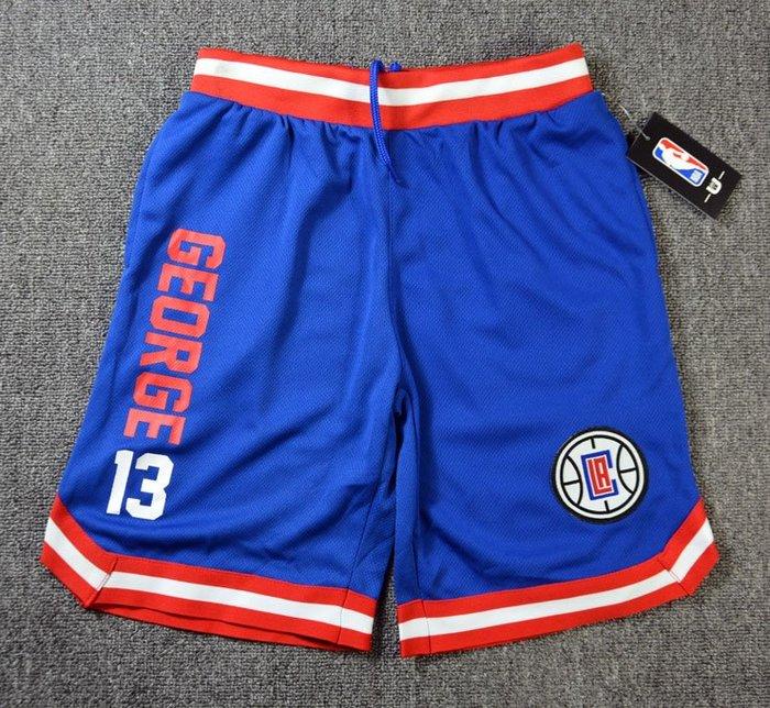 NBA籃球青年短褲 洛杉磯快艇隊  GEORGE 口袋版 運動籃球褲 藍色 正版