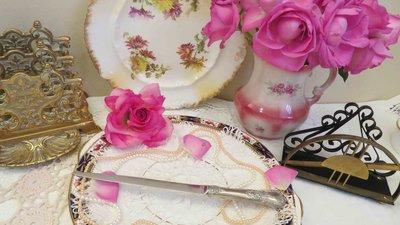 紫丁香歐陸古物雜貨♥英國vintage  sheffield立體浮雕花朵不鏽鋼拆信刀