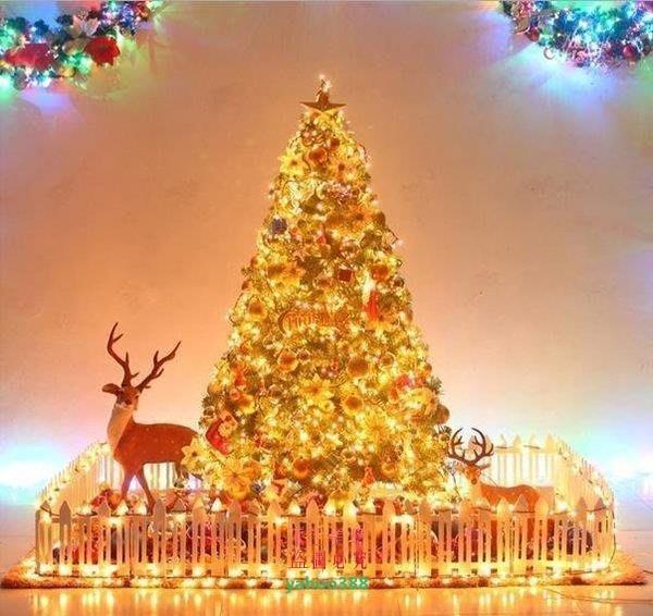 美學99300CM3M金色豪華裝飾聖誕樹套餐 聖誕節大型商場裝飾 聖❖1434