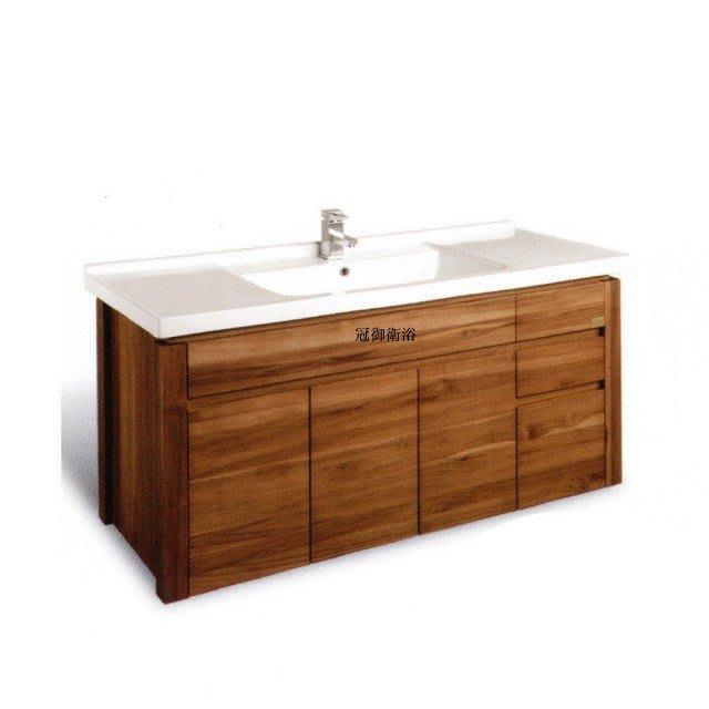 檯面磁盆典藏實木浴櫃二門三抽屜 TS-120cm