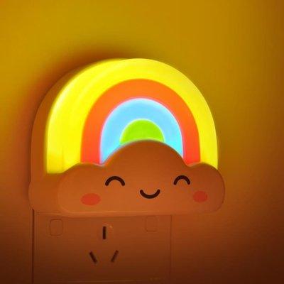 遙控聲光控彩虹小夜燈睡眠床頭燈臥室插電...