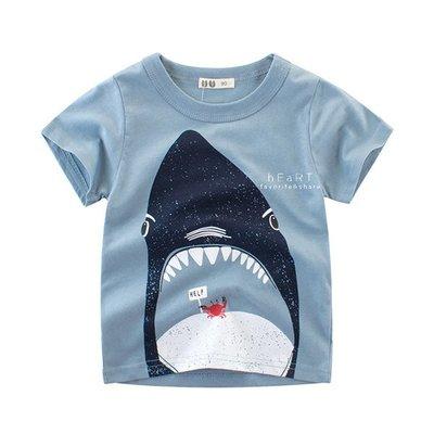 【可愛村】鯊魚吃螃蟹印花短袖T恤 童裝 上衣 T-shirt