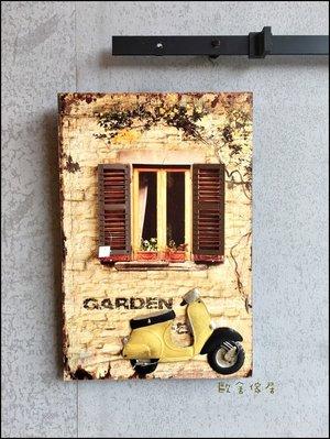 復古立體無框畫木板畫 仿古黃色窗戶偉士牌重機壁飾40*60公分 花卉壁畫牆壁裝飾鴨母畫掛畫蓋電箱鄉村風【歐舍傢居】