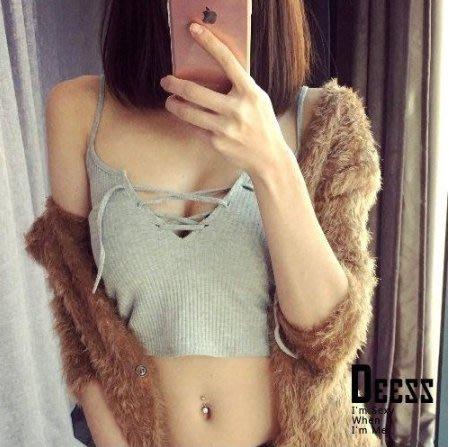 《現貨》胸大必備心機綁帶針織短背心16D070416