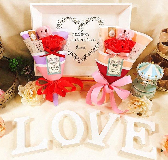 【華蕊】*小熊香皂玫瑰花束 *情人節 生日禮物 求婚 玫瑰花 香皂花 花束