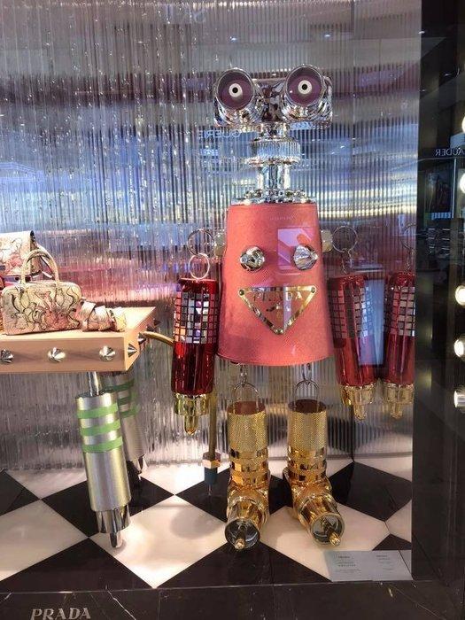 📦現貨在台💖專櫃73折☆全新真品 PRADA 1TR028 大款機器人皮革和金屬吊飾鑰匙圈