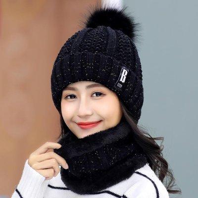帽子 帽子女冬天加絨毛線帽青年甜美可愛女士秋冬季針織帽百搭保暖