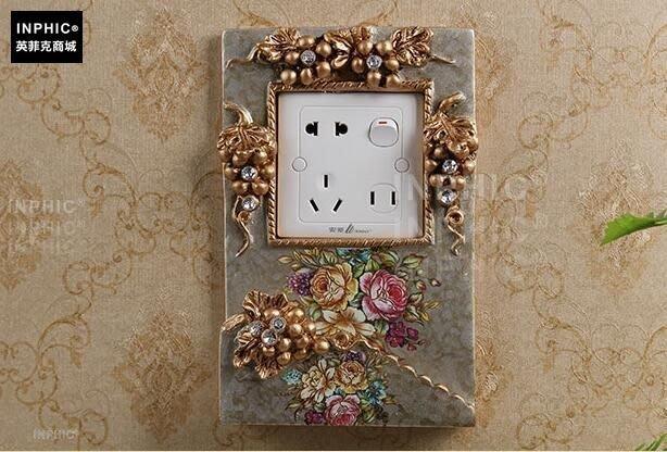 INPHIC-歐式美式奢華開關貼牆貼手機架家居牆飾品客廳臥室插座創意貼-P款_S01870C