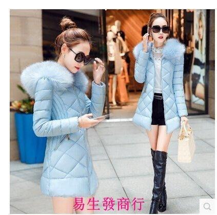 【易生發商行】羽絨服女冬裝中長款加厚修身時尚大毛領學生羽絨棉服外F6239