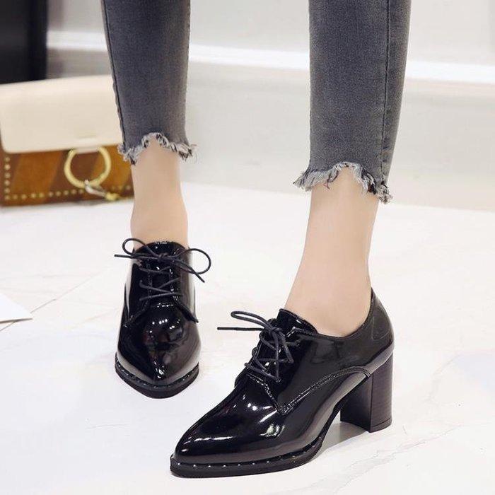 高跟鞋女英倫風時尚尖頭系帶純色休閑chic小皮鞋
