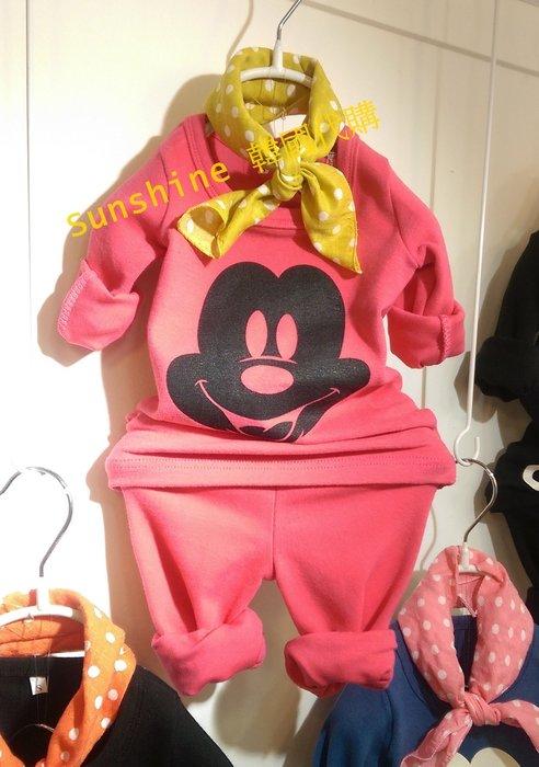 零碼出清 韓版陸製 迪士尼大頭米奇長袖套裝 居家服 貼身式 零碼  S號 黑/桃粉 建議 80cm以下穿