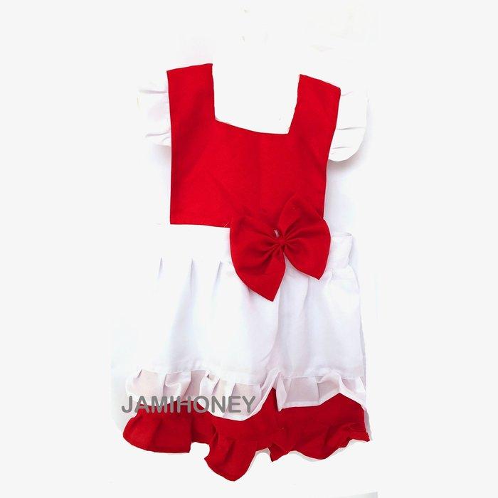 紅白雙色小红帽圍裙 兒童圍裙【JI2384】《Jami Honey》
